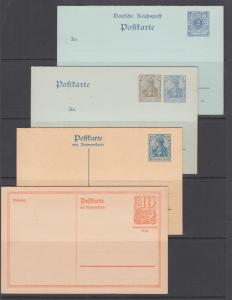 Germany H&G 43,71,122,144, unused. 1900-21 Postal Reply Cards, 4 different, F-VF
