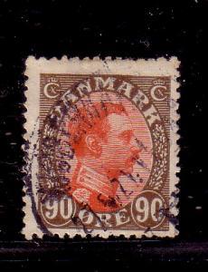 Denmark Sc 127 1920 90 ore Christian X stamp used