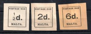 Malta 1925 Postage Dues unused 1/2d, 2d & 6d WS13166