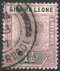 SIERRA LEONE-1897 1½d Dull Mauve & Black Sg 43 GOOD USED V42945