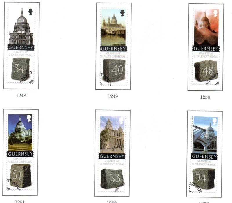 Guernsey Sc 1004-9 2008 Granite St Paul's  stamp set used