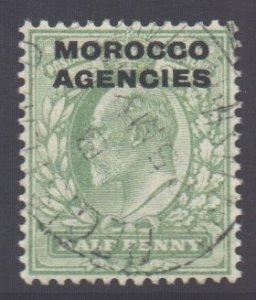 Morocco Scott 201 - SG31, 1907 British 1/2d used
