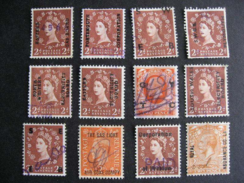 GREAT BRITAIN 12 different commercial overprints, check them out!