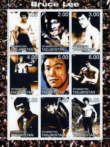 Tajikistan 2000 BRUCE LEE Sheet (9) Perforated Mint (NH)