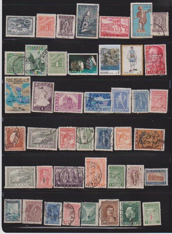 LOT OF DIFFERENT STAMPS OF GREECE  USED (43) LOT#156