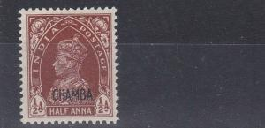 INDIA  CHAMBA  1942 - 47  S G 100  1/2A  RED BROWN  MH  CAT £85