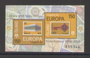 Iceland Sc 1066 2006 50th Anniversary Europa stamp sheet mint NH