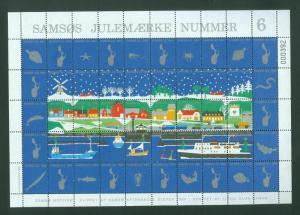 Denmark. Christmas Sheet Local Samso  # 6  Lions Club 1984. Windmill,Ferry,Cars