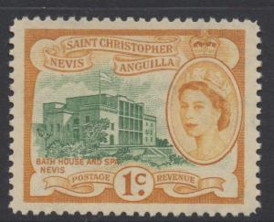 ST.KITTS & NEVIS;  1954 early QEII issue Mint hinged 1c. value