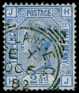 SG157, 2½d blue plate 23, FINE USED, CDS. Cat £35. HJ