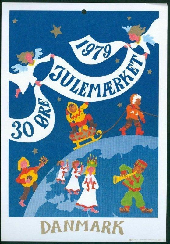 Denmark. Christmas Seal.1979. 1 Post Office,Display,Advertising Sign. Globe.