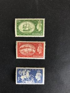 GB KGVI 1951 Part Set of Three HV UM Minus £1 Value