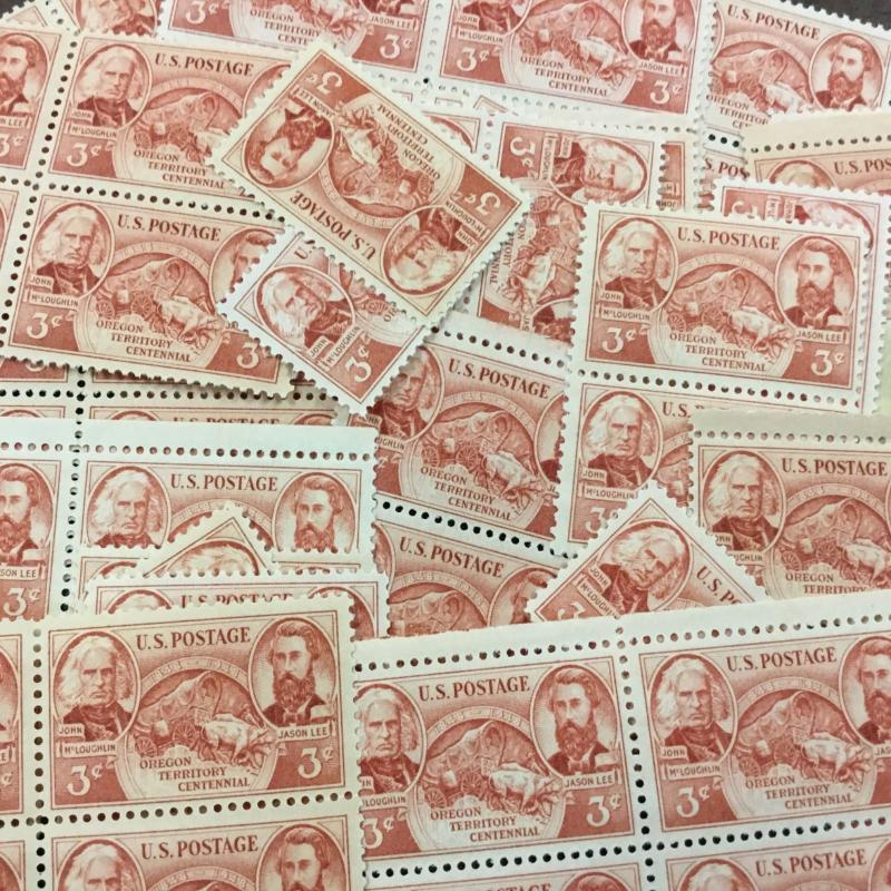 {BJ Stamps}  964   Oregon Territory   100 count  3¢ mint stamps.   In 1948.