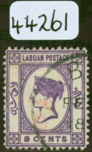 Labuan 1892 6c on 8c Mauve inverted/No Dot at Lower Left SG36a & SG36b Fine Used