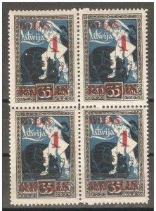 Latvia 1920-21,Surcharged 1R on 35k,Block Scott # 91,VF MNH**OG