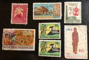Indonesia Scott#766...775 Used Group of 7 F/VF to XF Cat. $6.20