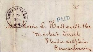 United States Kentucky Louisville, Ky. 1852 serifed cds  blue sl serifed Paid...