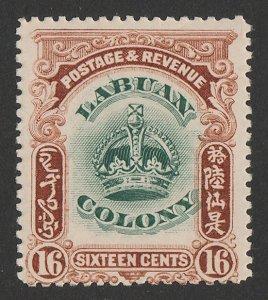 LABUAN : 1902 Crown 16c green & brown, variety 'line through B'.