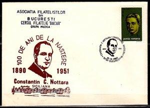 Romania, 1990 issue. 01/OCT/90 issue. Composer Nottara Cancel. Cachet Cover. ^
