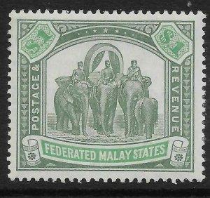MALAYA FMS SG48 1907 $1 GREY-GREEN & GREEN MTD MINT