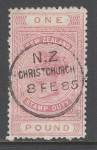 New Zealand Sc AR15v, SG F21, used. 1882 £1 rose pink QV Postal Fiscal, sound