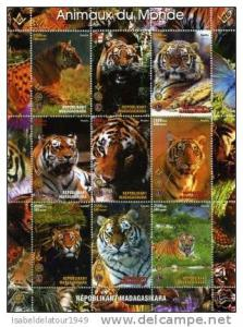 Malagasy 1999 Wild Animals in Africa Lions & Rotary Sheet Perforated MintNH