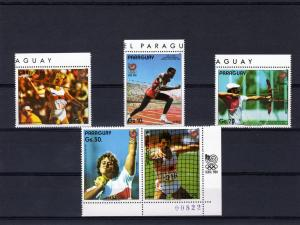 Paraguay 1987 Seoul Olympics 1988 set (5) Perforated mnh.vf