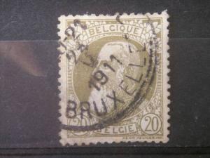 BELGIUM, 1905, used 20c King Leopold,  Scott 86, no stub