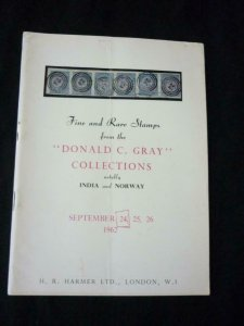 HR HARMER AUCTION CATALOGUE 1962 NOTABLY FINE RARE INDIA, NORWAY DONALD C GRAY