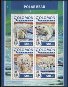 SOLOMON ISLANDS 2017  POLAR BEAR SHEET  MINT NH