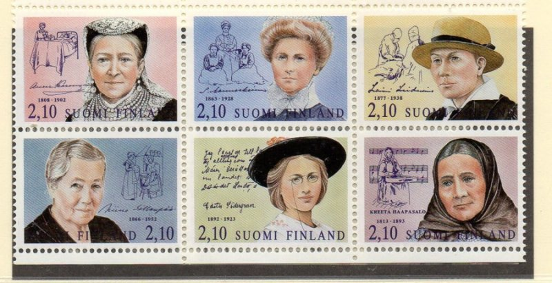 Finland Sc 895a 1992 Women stamp booklet pane mint NH