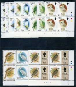 Niue 1992 QEII Birds set complete in blocks superb MNH. SG 718-729. Sc 604-614.