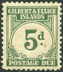 GILBERT & ELLICE ISLANDS-1940 5d Grey-Green Postage Due Sg D5 toned gum LMM