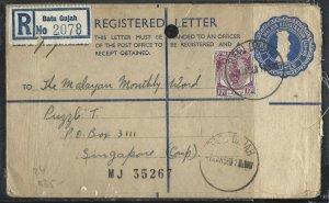 MALAYA PERAK  (PP1708B)   1956  20C RLE+10C BATU GAJAH TO SINGAPORE