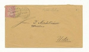 D063704 Switzerland Sitting Helvetia Sc. 53 10c carmine Cover 1872 Zurich Uster