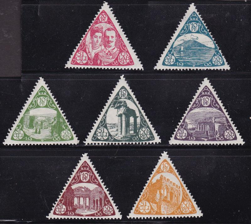 Italy 1908 Sicilia Calabria Triangles (7) Issued for the Earthquake Relief Fund