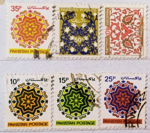 Pakistan:1980:(20% reduced price)Ornaments:Set of 6 Single Stamps:Used