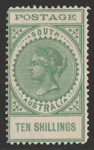 SOUTH AUSTRALIA : 1902 QV Thin Postage 10/- green.