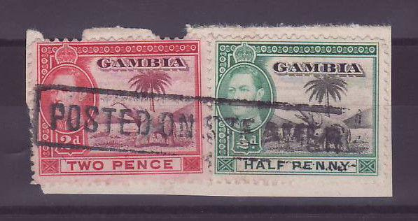 Gambie Gambia Cancelled Steamer Parcel 2p + 1/2p Elephant Posted on steamer Full