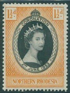 Northern Rhodesia 1953 SG60 1½d black and orange Coronation QEII MNH