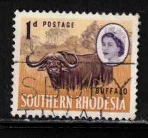 SOUTHERN RHODESIA Scott # 96 Used - QEII & Cape Buffalo
