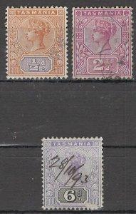 COLLECTION LOT OF #1752 AUSTRALIA STATE TASMANIA  #76-77-79 1892 CV= $19.75