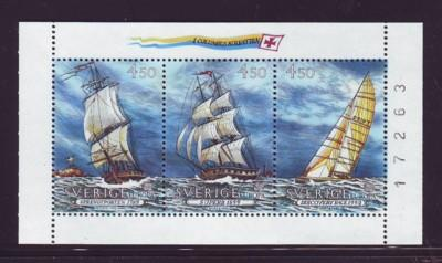 Sweden Sc 1948a 1992 Europa Ships stamp booklet pane mint NH