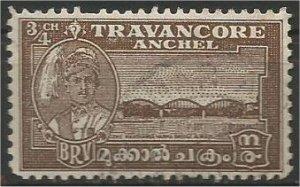 TRAVANCORE, 1941, used 3/4 ch,Bridge Scott 44