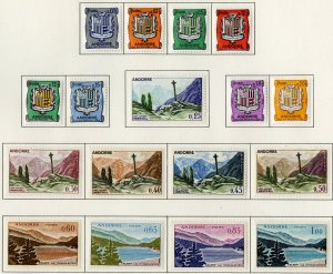 FRENCH ANDORRA 143-153, 161-164 MH $69.35 BIN $32.00 COATS OF ARMS, LANDSCAPE...