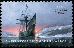 SCOTT 5542-MAYFLOWER IN PLYMOUTH SINGLE STAMP MNH