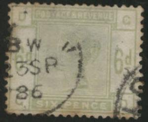 Great Britain Scott 105, 1884 Victoria 6p CV$225 Toned perfs
