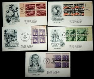 FDCs - w/PLATE BLOCKS - x5 - see photo