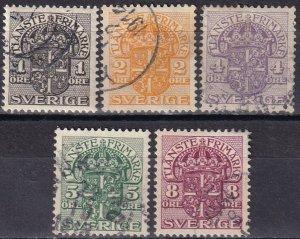 Sweden #O28-O32  F-VF Used  CV $11.15  (Z6317)
