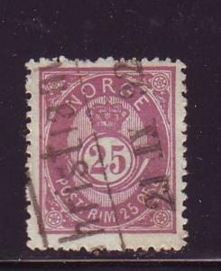 Norway Sc 45 1884 25 ore dull violet post horn stamp used
